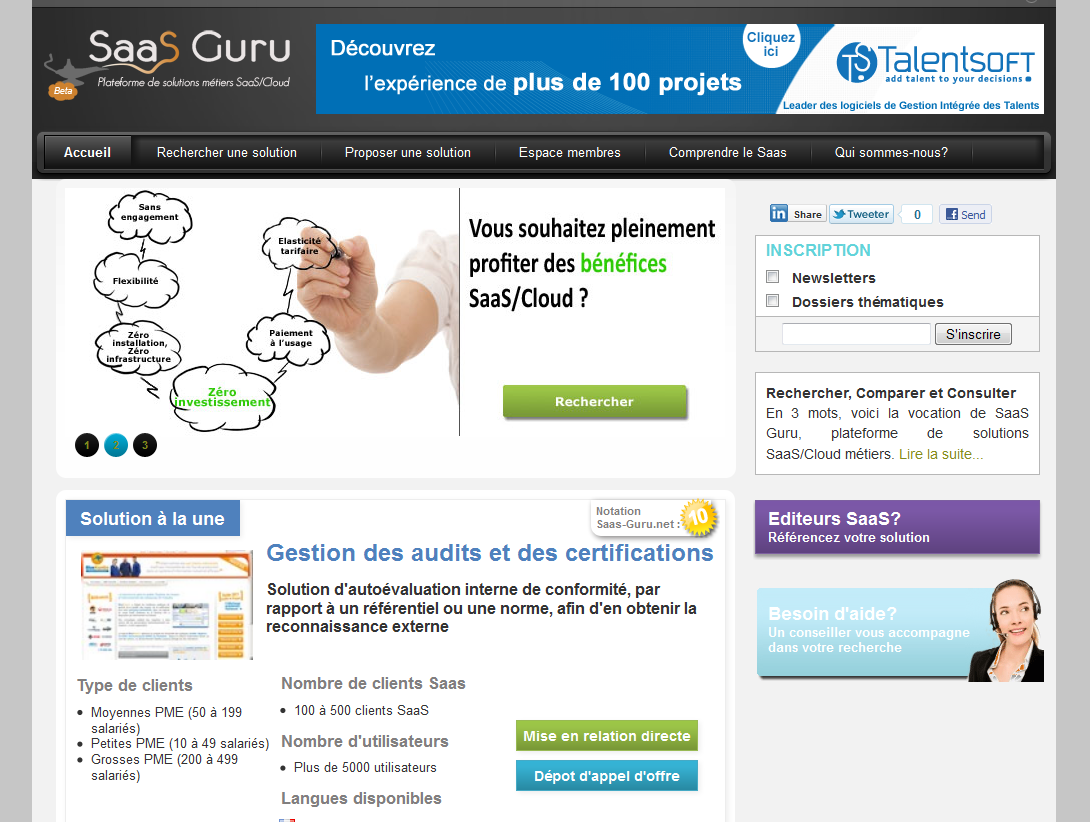 Officiel: lancement de SaaS-Guru.net, première plateforme de solutions SaaS en Europe